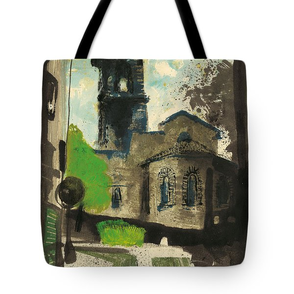Tote Bag featuring the painting Manosque  Provence Notre Dame De Romigier Print by Martin Stankewitz