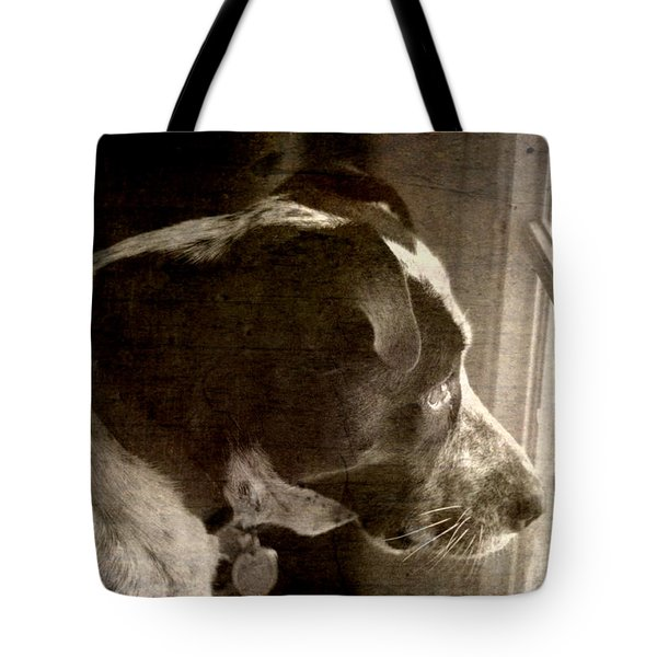 Tote Bag featuring the photograph Mans Best Friend Sepia II by Suzanne Powers