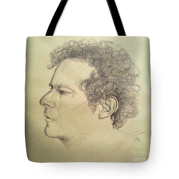 Tote Bag featuring the drawing Man's Head Classic Study by Maja Sokolowska