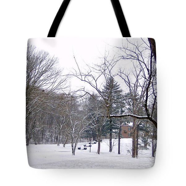 Tote Bag featuring the photograph Mansion In The Snow by Skyler Tipton