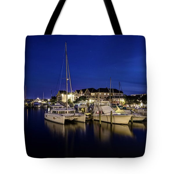Manteo Waterfront Marina At Night Tote Bag