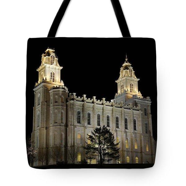 Manti Temple Night Tote Bag