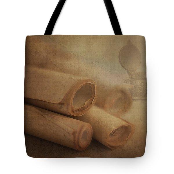 Manuscript Scrolls Still Life Tote Bag