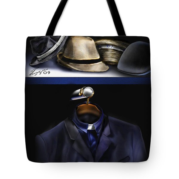 Many Hats One Collar Tote Bag by Reggie Duffie