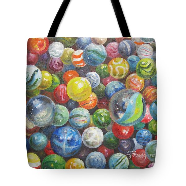Tote Bag featuring the painting Many Marbles by Oz Freedgood