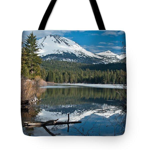 Manzanita Lake Reflects On Mount Lassen Tote Bag