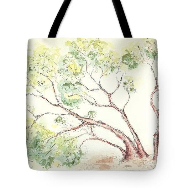 Tote Bag featuring the painting Manzanita Tree by Maria Langgle