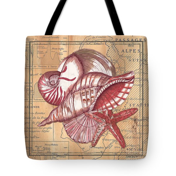 Map And Shells Tote Bag