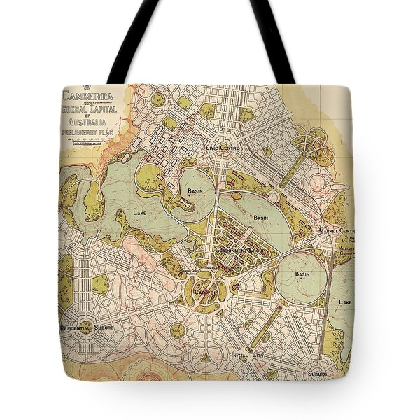 Map Of Canberra 1913 Tote Bag