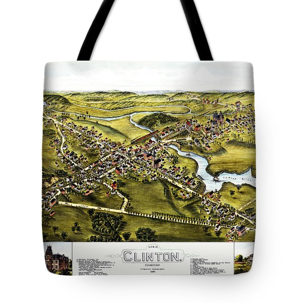 Map Of Clinton Connecticut 1881 Tote Bag