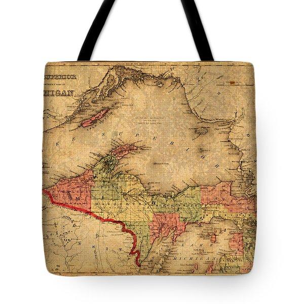 Map Of Michigan Upper Peninsula And Lake Superior Vintage Circa 1873 On Worn Distressed Canvas  Tote Bag