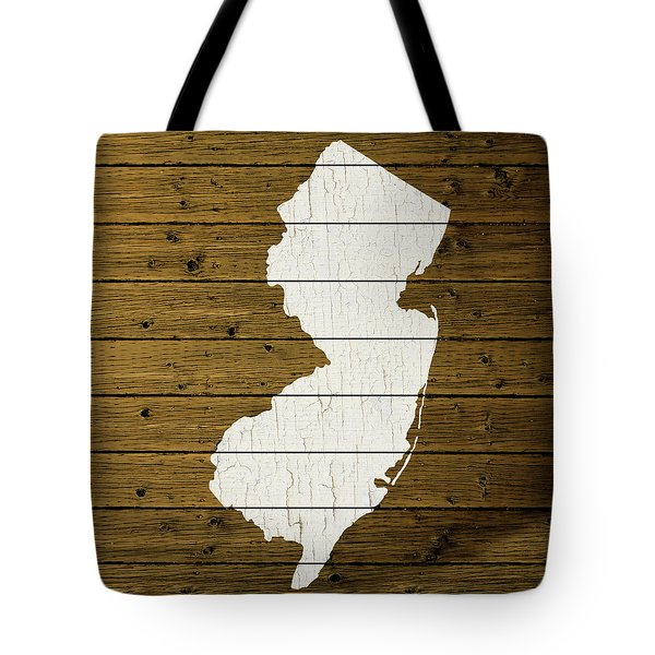 Map Of New Jersey State Outline White Distressed Paint On Reclaimed Wood Planks Custom Brown Tote Bag