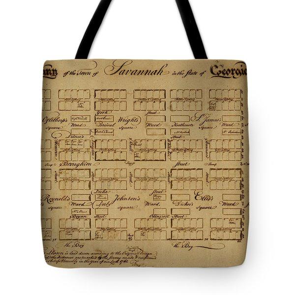 Map Of Savannah 1761 Tote Bag