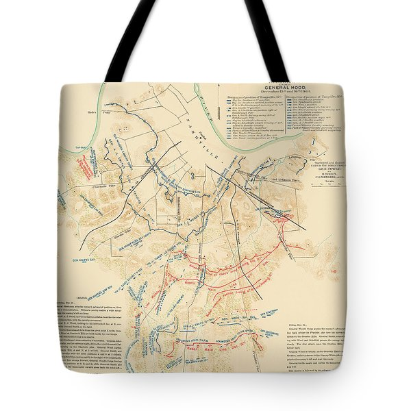Map Of The Battle Of Nashville - American Civil War Tote Bag