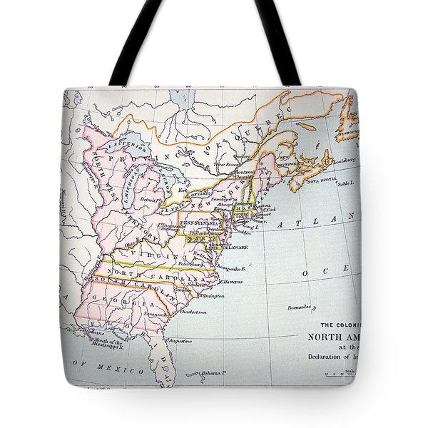 Map Of The Colonies Of North America At The Time Of The Declaration Of Independence Tote Bag by American School