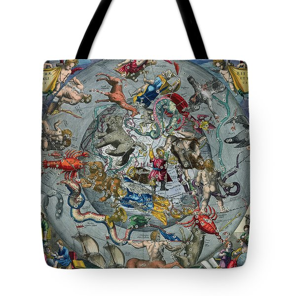 Map Of The Constellations Of The Northern Hemisphere Tote Bag by Andreas Cellarius