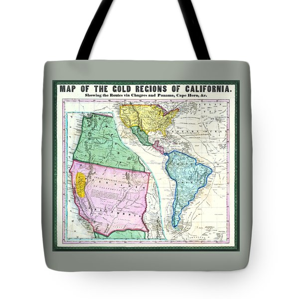 Map Of The Gold Regions Of California Tote Bag