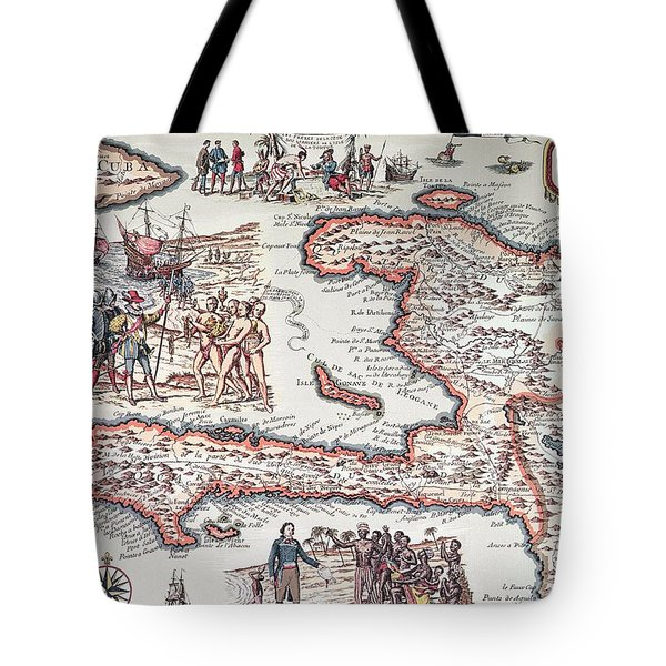 Map Of The Island Of Haiti Tote Bag by French School