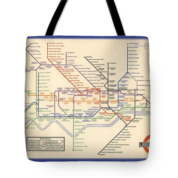 Map Of The London Underground - London Metro - 1933 - Historical Map Tote Bag