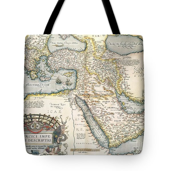Map Of The Middle East From The Sixteenth Century Tote Bag by Abraham Ortelius