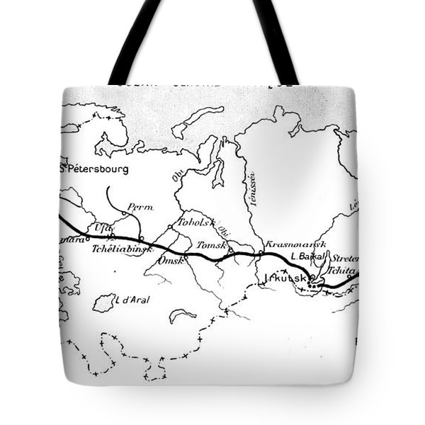 Map Of The Route Of The Trans Siberian Railway Tote Bag