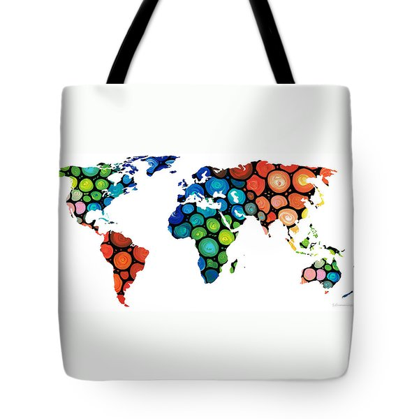 Map Of The World 1 -colorful Abstract Art Tote Bag by Sharon Cummings