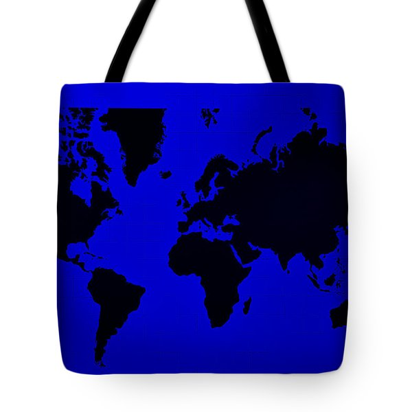 Tote Bag featuring the photograph Map Of The World Blue by Rob Hans