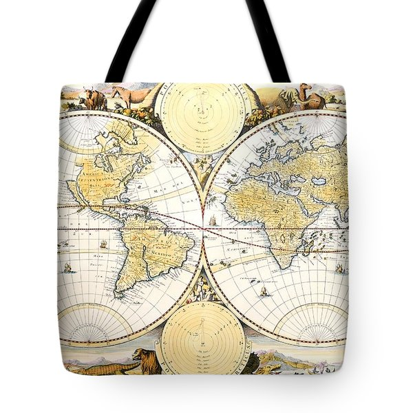 Map Of The World Tote Bag by Daniel Stoopendaal