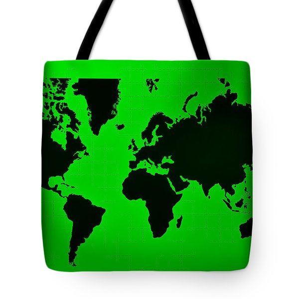 Tote Bag featuring the photograph Map Of The World Green by Rob Hans