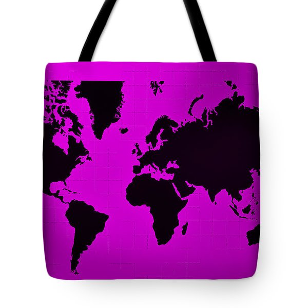Tote Bag featuring the photograph Map Of The World Purple by Rob Hans