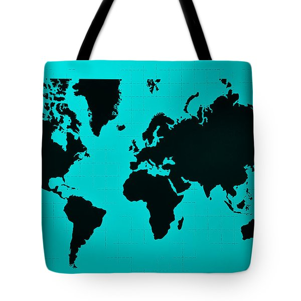 Tote Bag featuring the photograph Map Of The World Turquoise by Rob Hans
