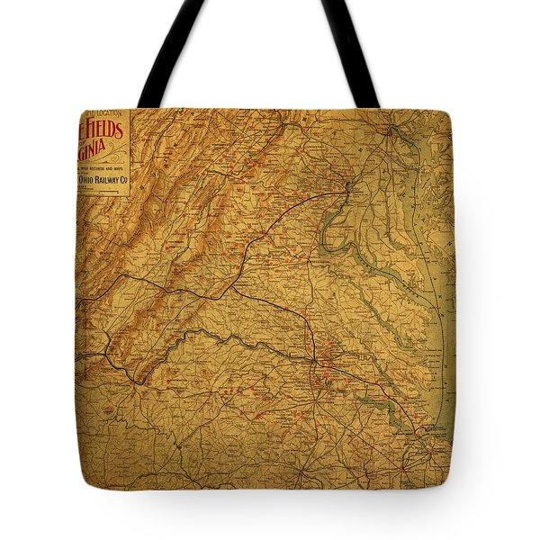 Map Of Virginia Battlefields Civil War Circa 1892 On Worn Distressed Vintage Canvas Tote Bag