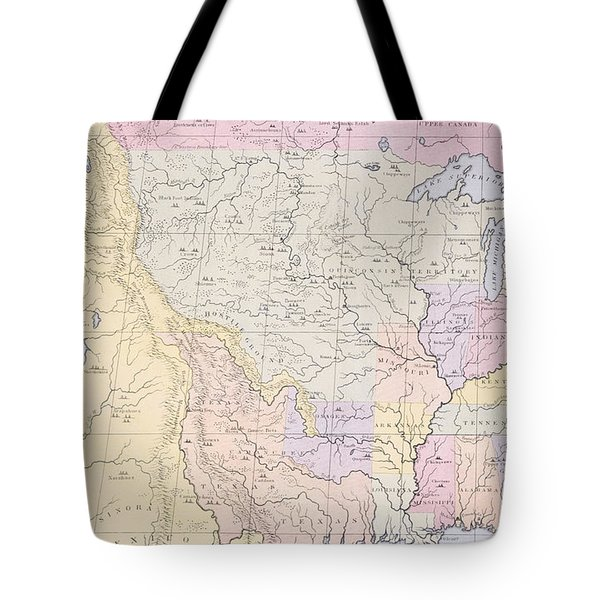 Map Showing The Localities Of The Indian Tribes Of The Us In 1833 Tote Bag