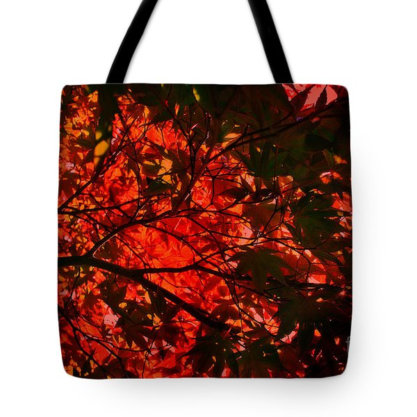 Maple Dance In Red Tote Bag