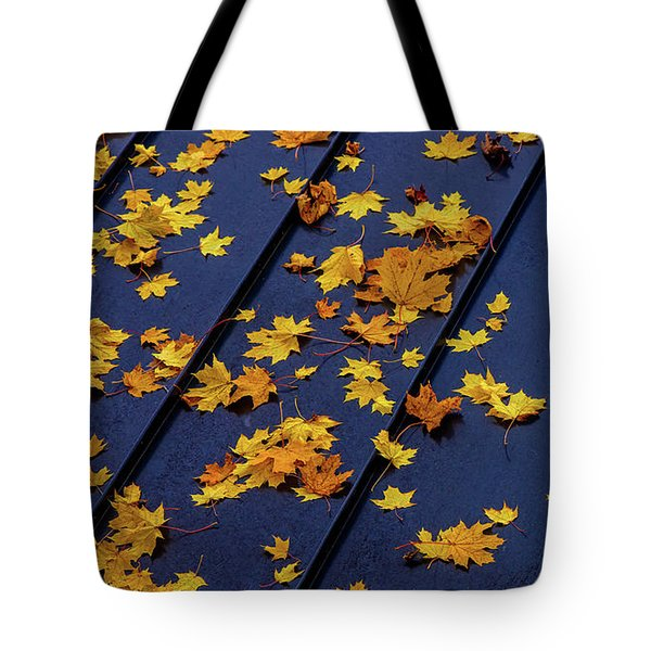 Maple Leaves On A Metal Roof Tote Bag
