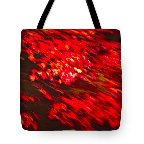 Maple Red Abstract Tote Bag