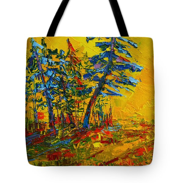 Maple Sky Landscape - Modern Impressionistic Palette Knife Oil Painting Tote Bag