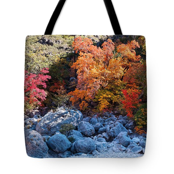 Maples And Boulders In A Play Of Lights And Shadows - Mckittrick Canyon Guadalupe Mountains Tote Bag