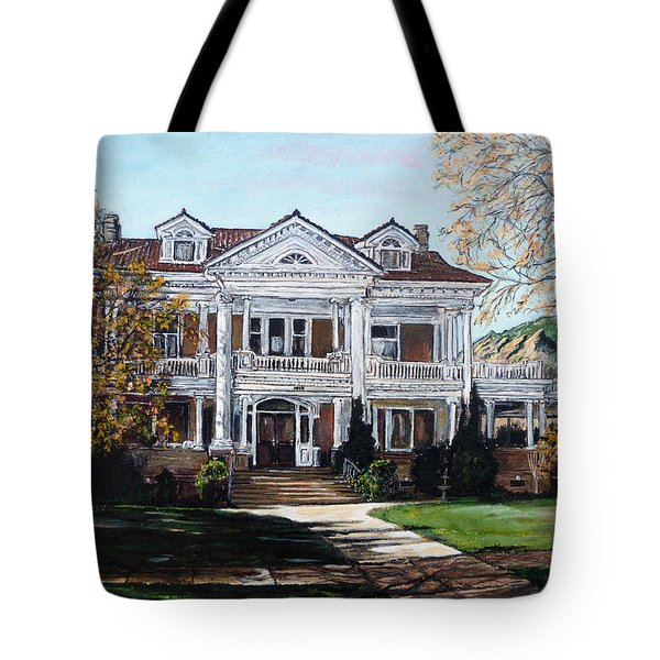 Tote Bag featuring the painting Mapleton Hill Homestead by Tom Roderick