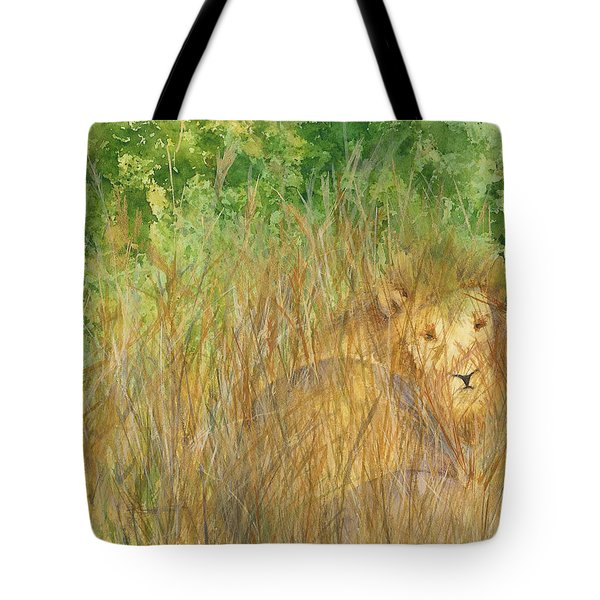 Tote Bag featuring the painting Mara The Lioness by Vicki  Housel