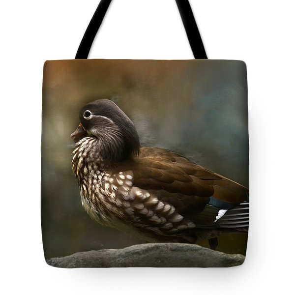 Marbled Teal Tote Bag by Ann Bridges
