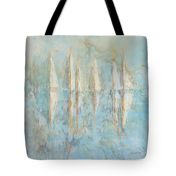 Tote Bag featuring the painting Marbled Yachts by Valerie Anne Kelly