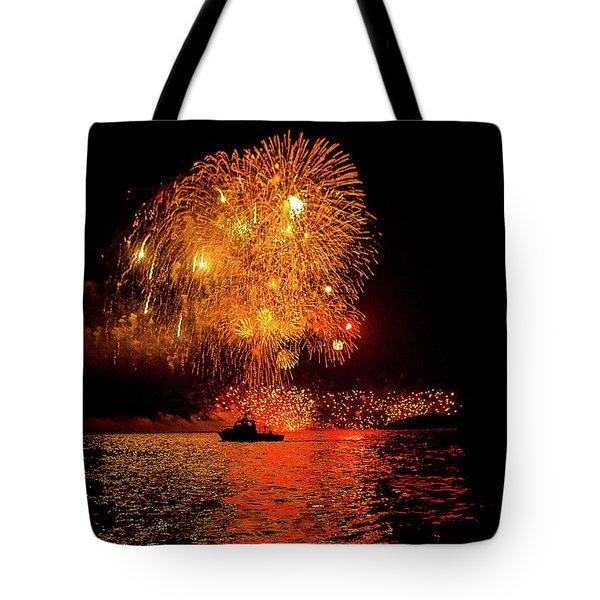 Tote Bag featuring the photograph Marblehead Fireworks by Jeff Folger