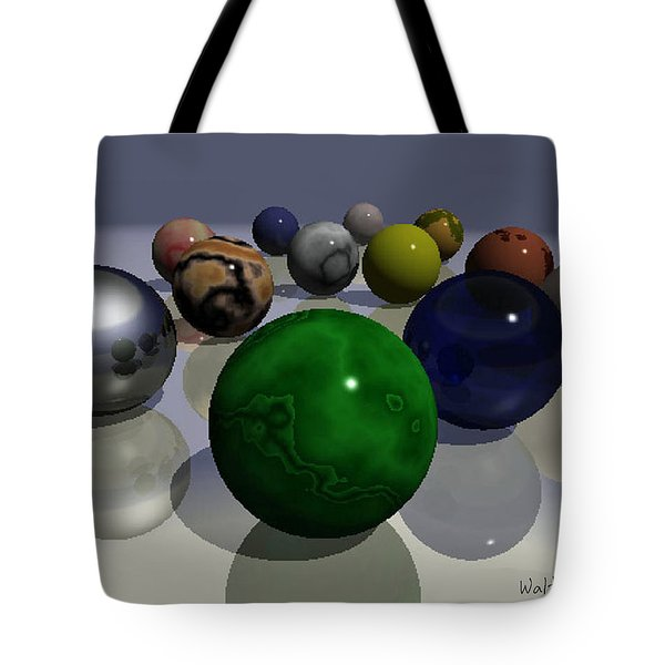 Tote Bag featuring the digital art Marbles by Walter Chamberlain