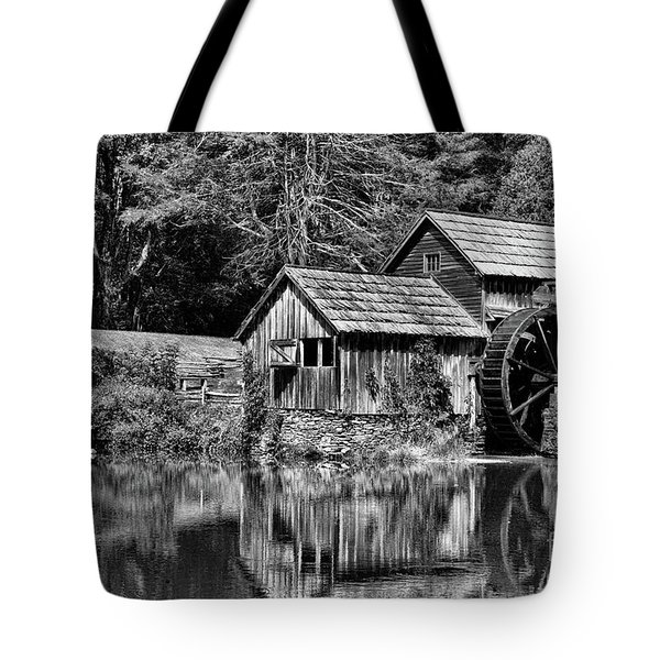 Tote Bag featuring the photograph Marby Mill In Black And White by Paul Ward