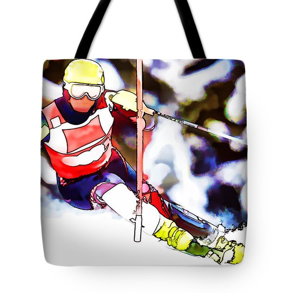 Marcel Hirscher Skiing Tote Bag by Lanjee Chee