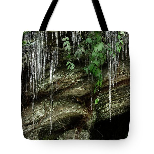Tote Bag featuring the photograph March Icicles 2 by Mike Eingle