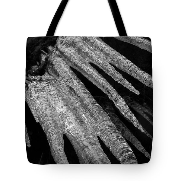 Tote Bag featuring the photograph March Icicles 3 by Mike Eingle
