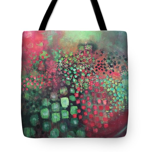 Tote Bag featuring the painting March Of The Flamingos Stairway To Heaven by Laurie Maves ART