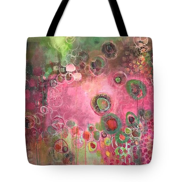 Tote Bag featuring the painting March Of The Spoonbills by Laurie Maves ART